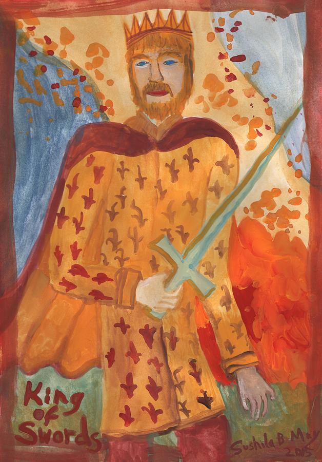 Tarot Painting - Fiery King Of Swords by Sushila Burgess