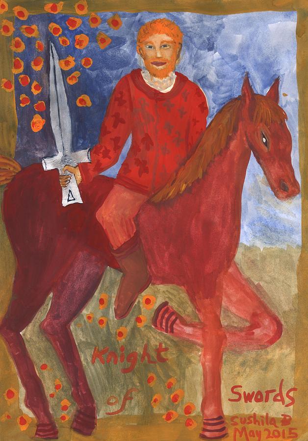 Tarot Painting - Fiery Knight Of Swords by Sushila Burgess