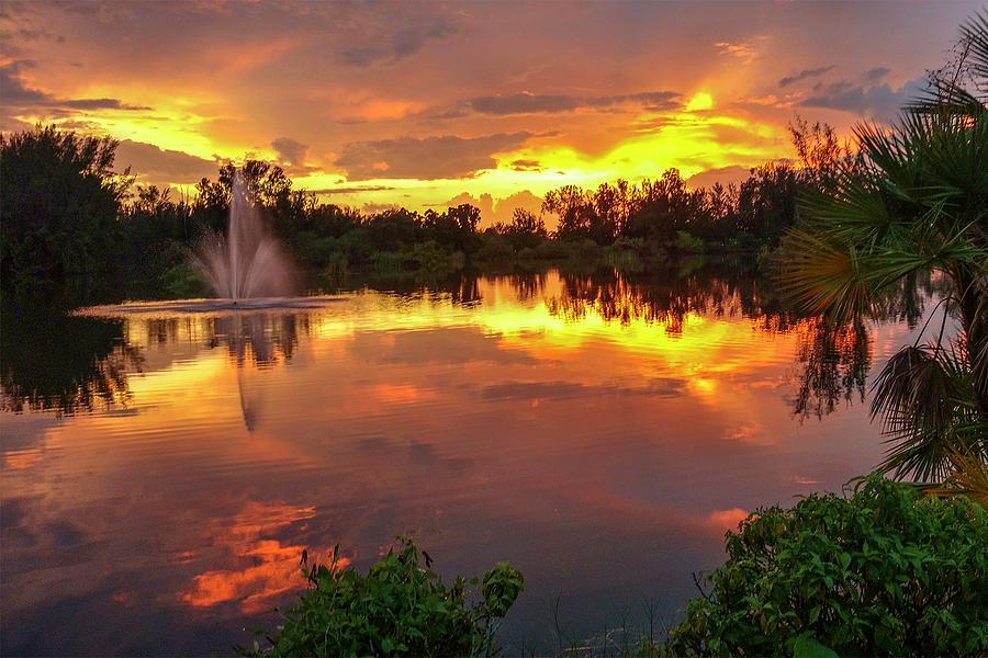 Fiery Lake Reflections by Linda Steele