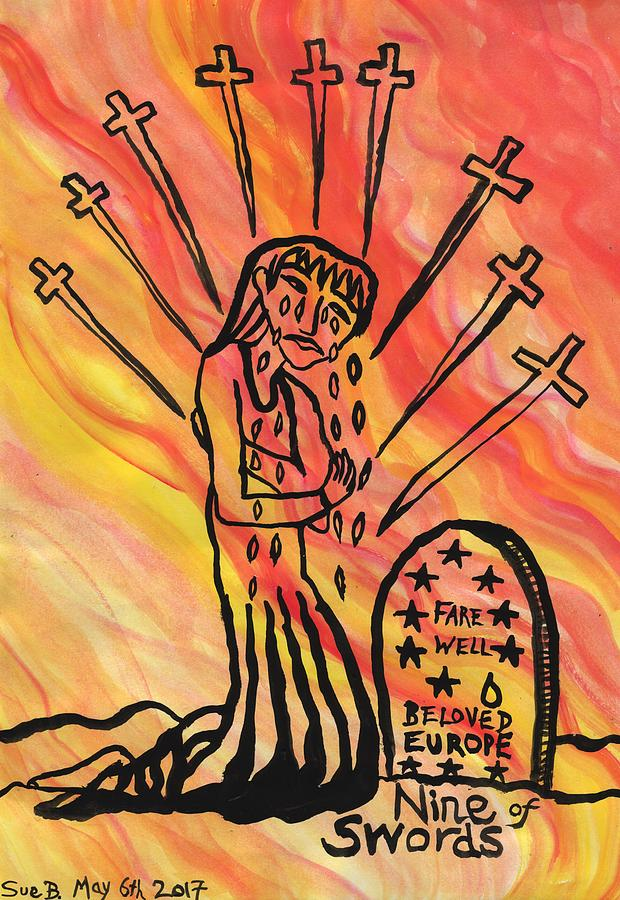 Tarot Painting - Fiery Nine of Swords Illustrated by Sushila Burgess