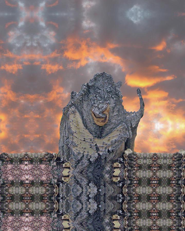Fiery Sky Behind Evil Ogre by Julia L Wright