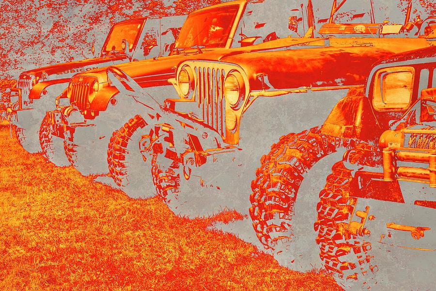 Jeep Photograph - Fiery Sticks And Stones ... Wont Break My Bones by Luke Moore