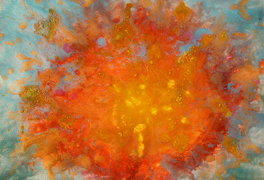 Abstract Painting Painting - Fiery Sunset Abstract Painting by Julia Apostolova