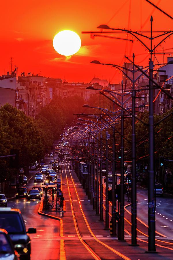 Fiery Photograph - Fiery Sunset In Belgrade Belgradehenge by Dejan Kostic