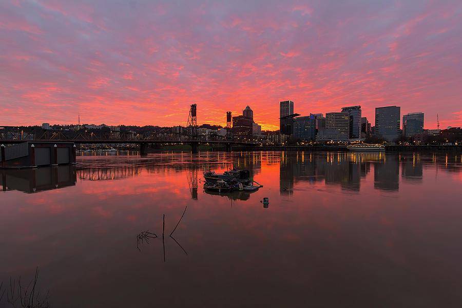 Sunset Photograph - Fiery Sunset over Portland Skyline by David Gn