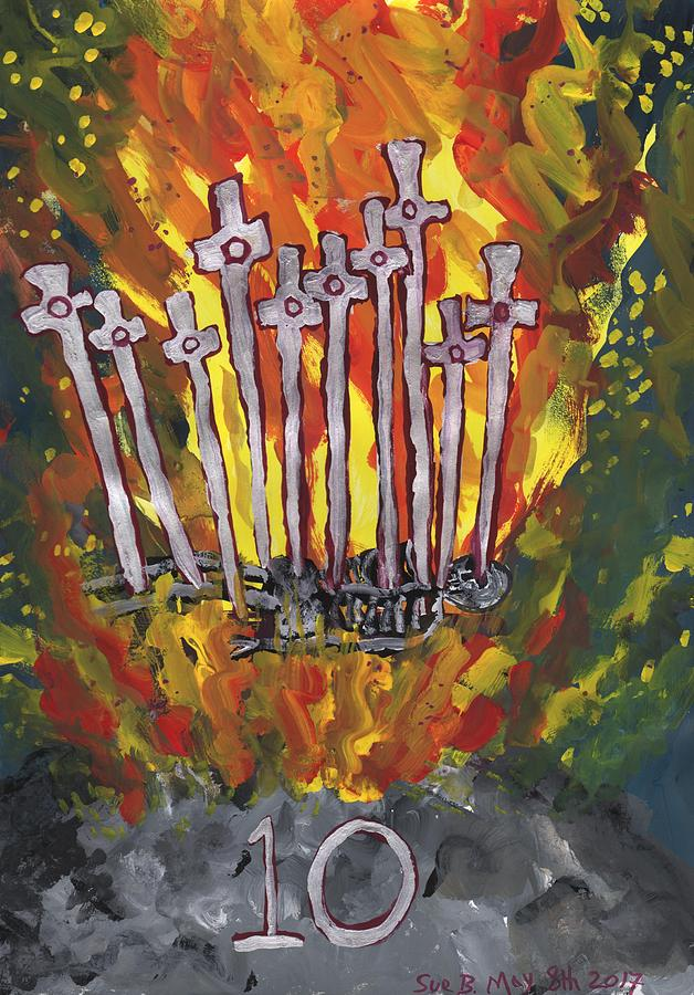 Tarot Painting - Fiery Ten of Swords Illustrated by Sushila Burgess