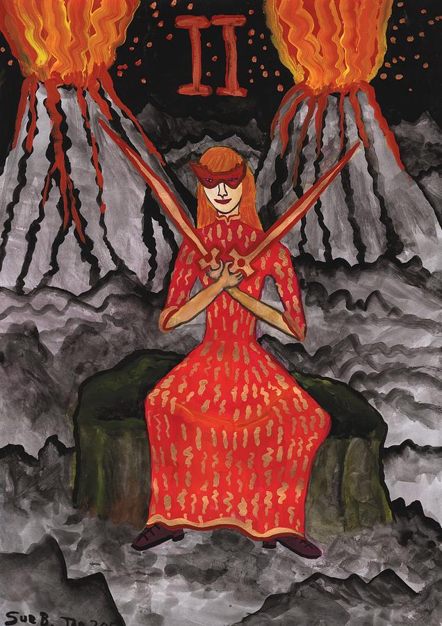 Tarot Painting - Fiery Two Of Swords Illustrated by Sushila Burgess