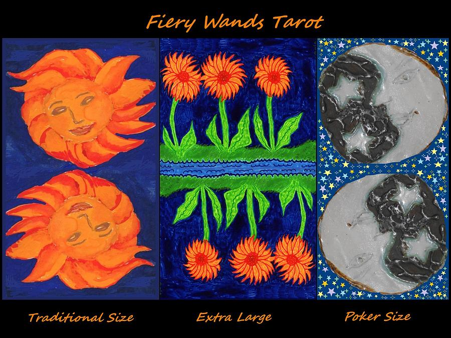 Tarot Painting - Fiery Wands Tarot variations by Sushila Burgess