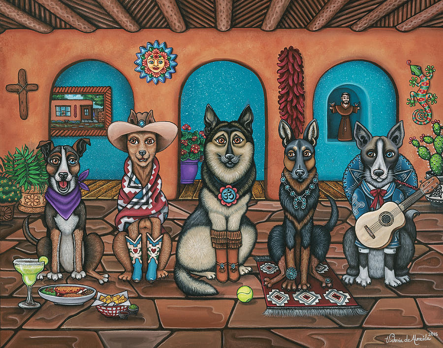 Dogs Painting - Fiesta Dogs by Victoria De Almeida
