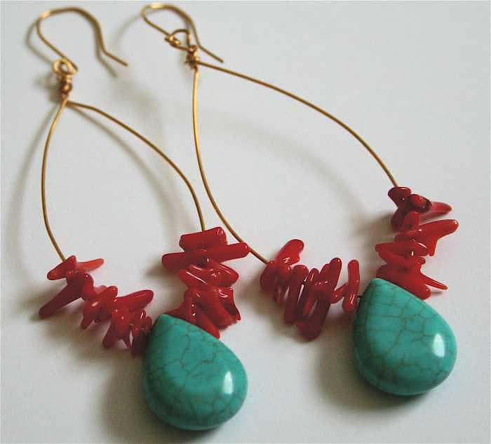 Red Coral Jewelry - Fiesta Earrings by Laura Knight