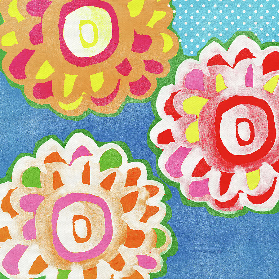 Flowers Mixed Media - Fiesta Floral 3- Art by Linda Woods by Linda Woods