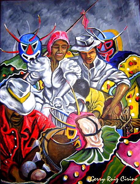 Figurative Painting - Fiesta by Gerry Ruiz-Cirino