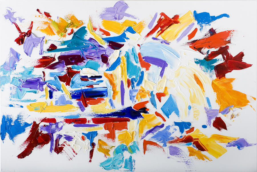 Abstract Yellow Painting - Fiesta by Shannon Grissom