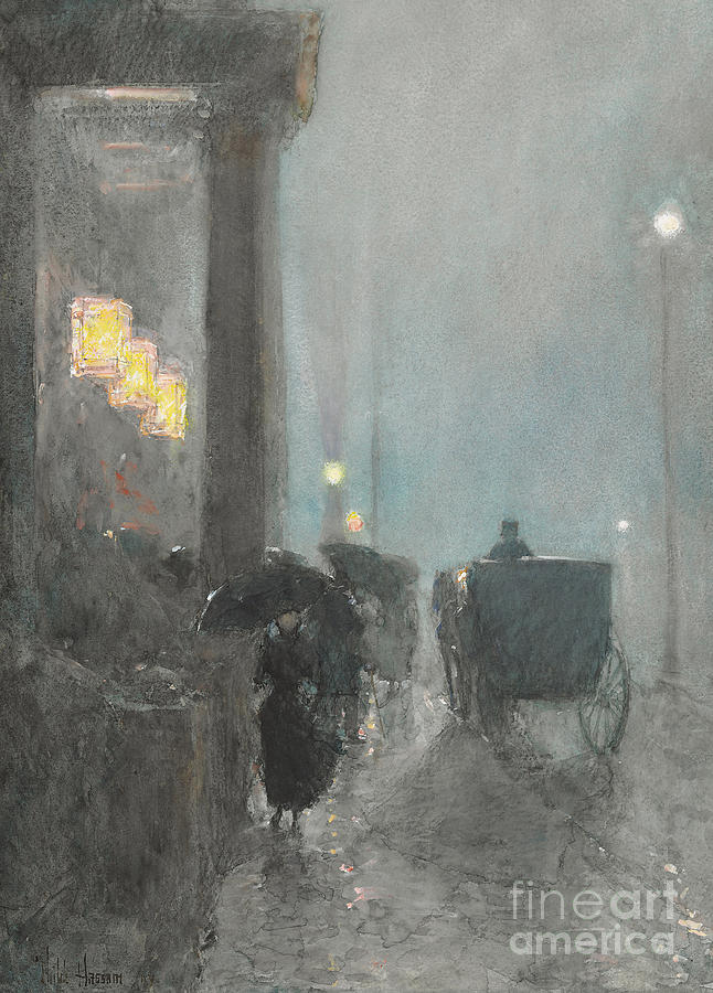 Fifth Avenue Painting - Fifth Avenue, Evening by Childe Hassam