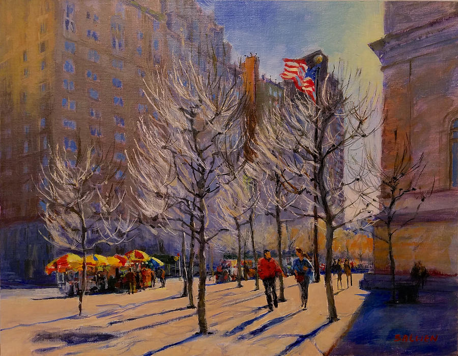 New York Painting - Fifth Avenue - Late Winter at the Met by Peter Salwen