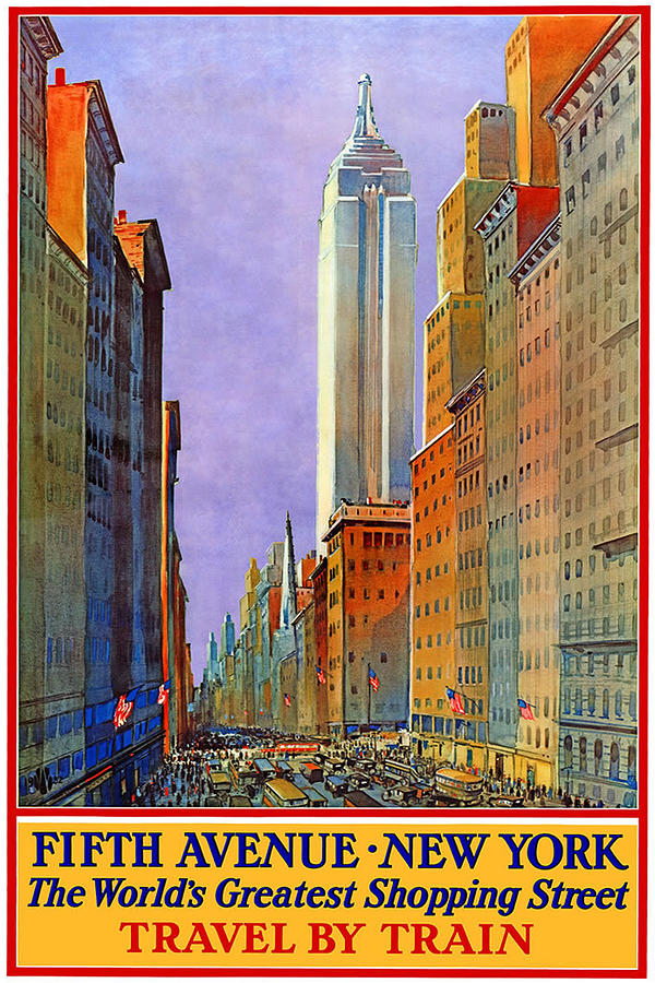Fifth Avenue New York - Vintage Travel Poster Painting