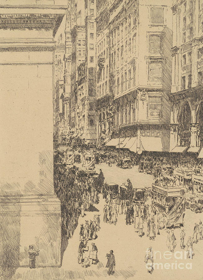 Childe Hassam Drawing - Fifth Avenue, Noon, 1916  by Childe Hassam
