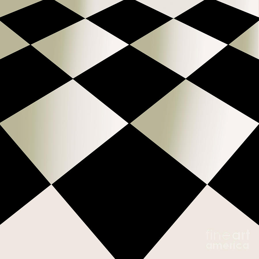 Checkerboard Painting - Fifties Kitchen Checkerboard Floor by Mindy Sommers