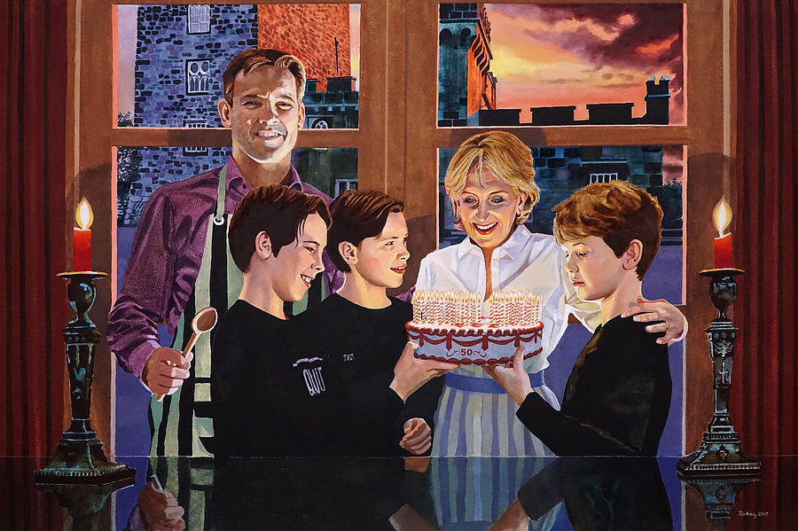 Family Painting - Fifty Years Home And Away by Jo King