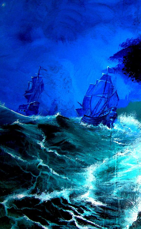 Seascape Painting - Fight For Life by Glory Fraulein Wolfe