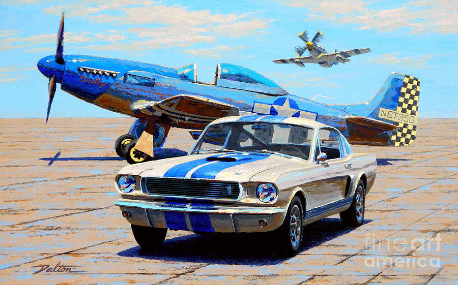 Ww2 Aircraft Painting - Fighter And Shelby Mustangs by Frank Dalton