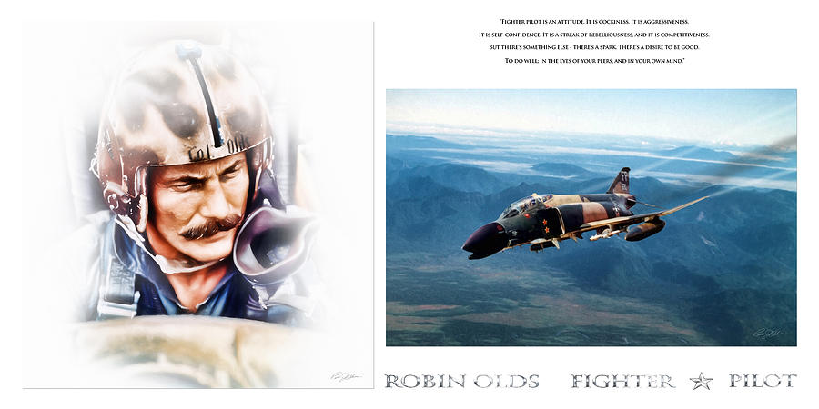 Aviation Digital Art - Robin Olds Fighter Pilot by Peter Chilelli