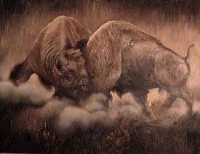 Buffalo Painting - Fighting Buffalo by Gordon Sage