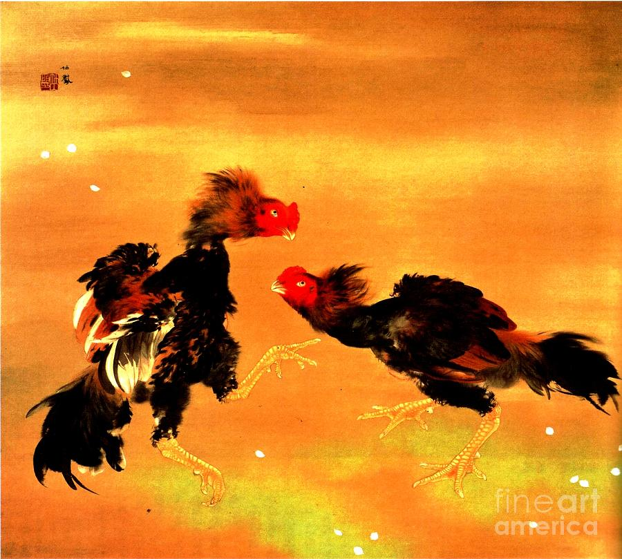 Fighting Cocks Painting