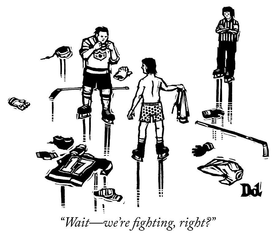 Fighting Drawing by Drew Dernavich