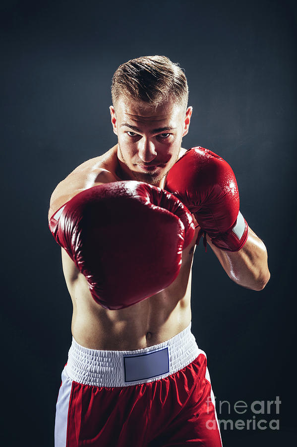 Fighting Man In Red Gloves Boxing To The Camera ...