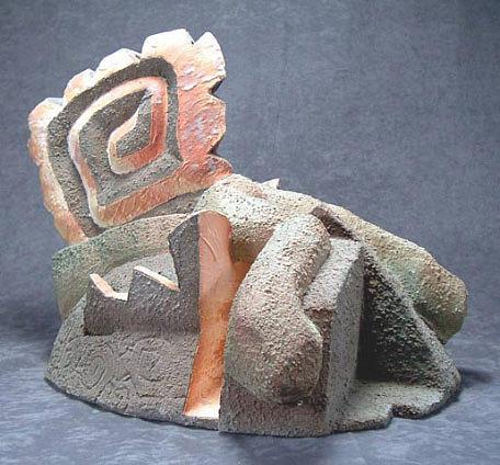 Figurative Ceramic Art - Figure A Top A Structure  by Donald Burroughs