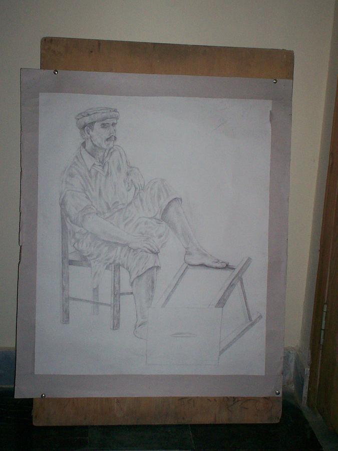 Figure Drawing Painting by Itrat Jafari