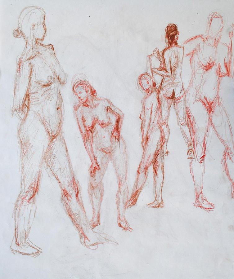 Conte Crayon Drawing - Figure Five by Sara Ward