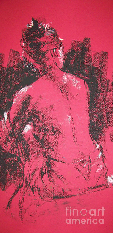 Figurative Painting - Figure in Red by Tina Siddiqui