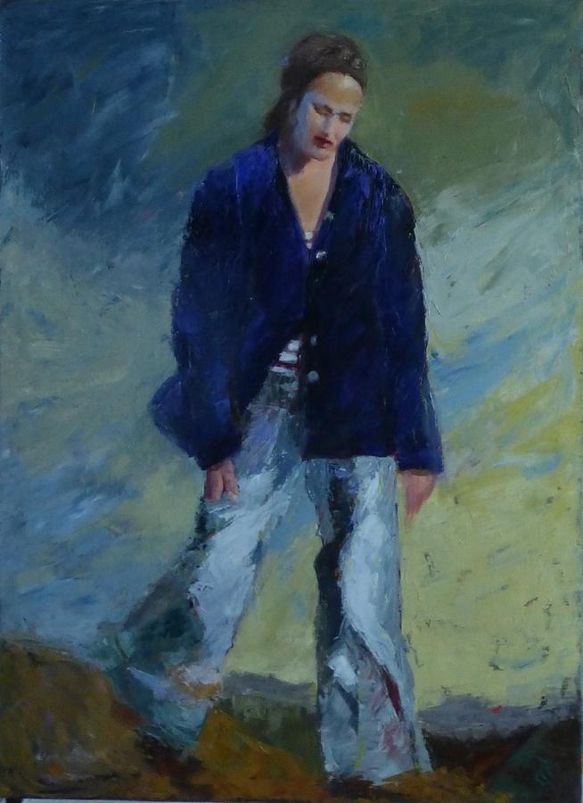 Figure Painting - Figure In The Dark Jacket by Irena Jablonski