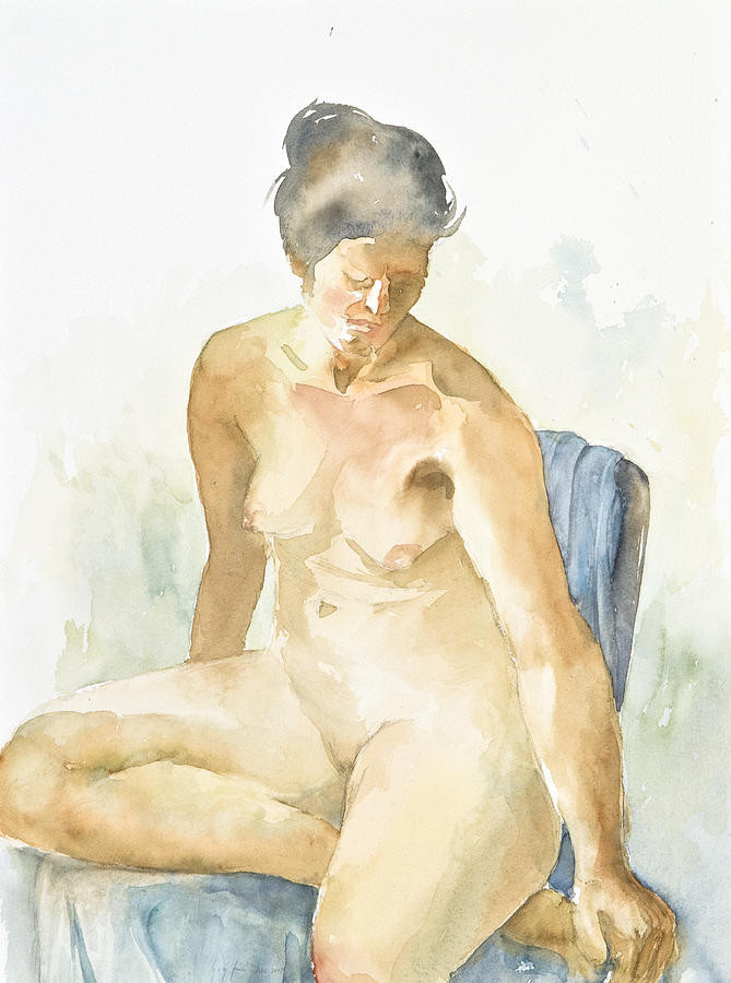 Nude Woman Painting - Figure Sitting by Eugenia Picado