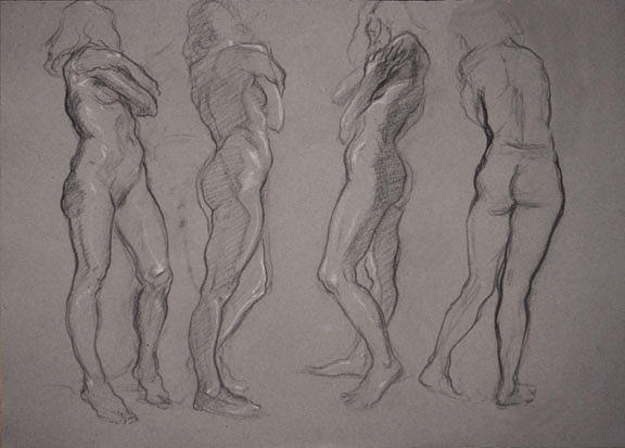 Drawing Drawing - Figure Studies For Sculpture by Tom Durham