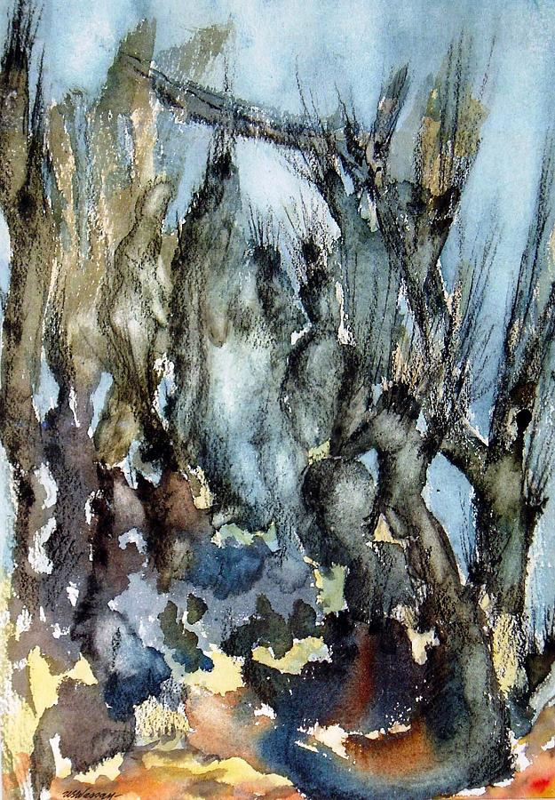 Watercolor Painting Painting - Figures And Trees by Ujjagar Singh Wassan
