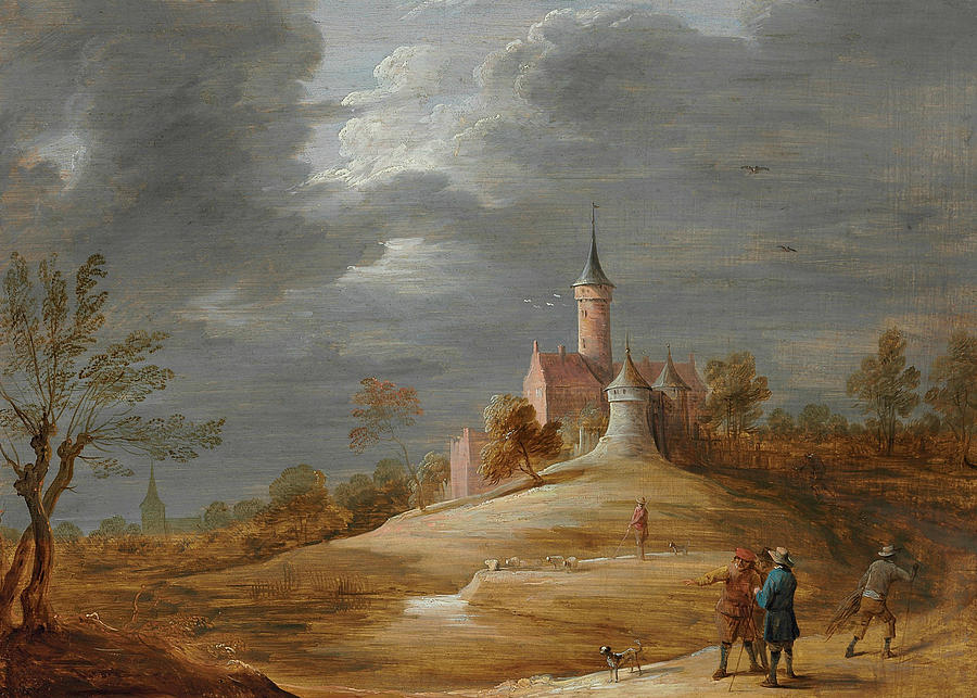 Flemish Painters Painting - Figures In A Landscape With A Castle Beyond by David Teniers the Younger