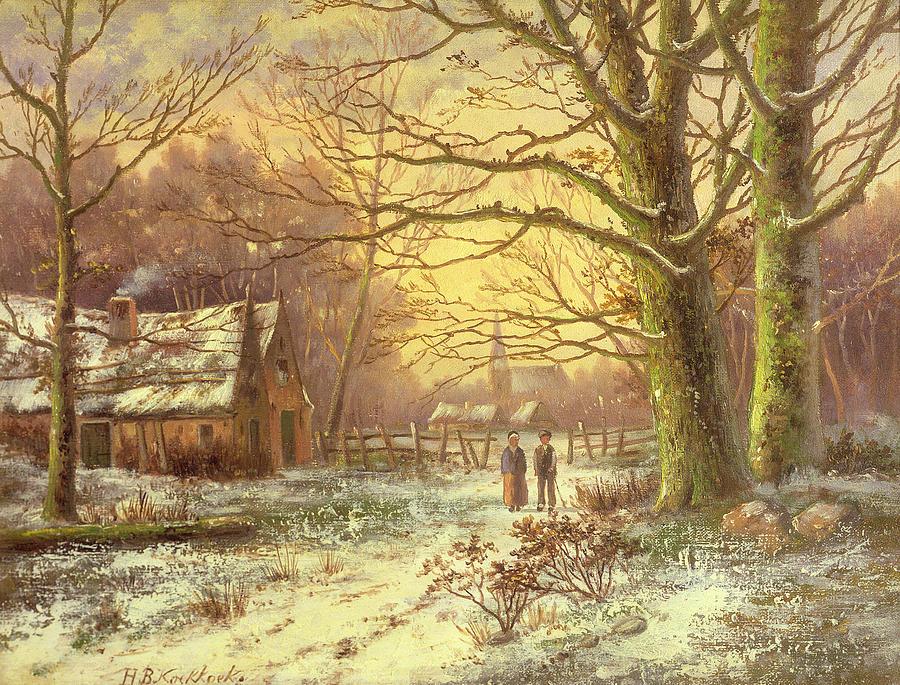 Figures Painting - Figures On A Path Before A Village In Winter by Johannes Hermann Barend Koekkoek