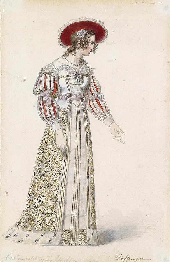 Sketch Drawing - Figurine In Medieval Dress, by Moritz Michael Daffinger