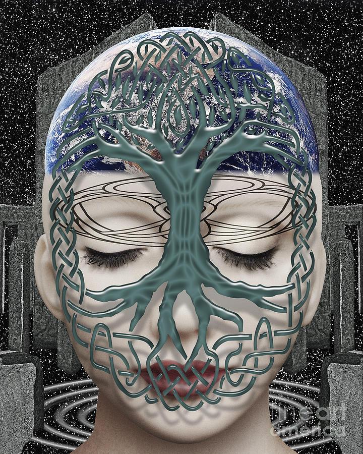 Surreal Digital Art - Fildais Celtic Goddess by Keith Dillon