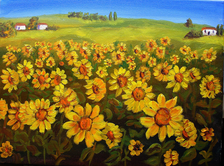 Landscape Painting - Filed Of Sunflowers by Mary Jo Zorad
