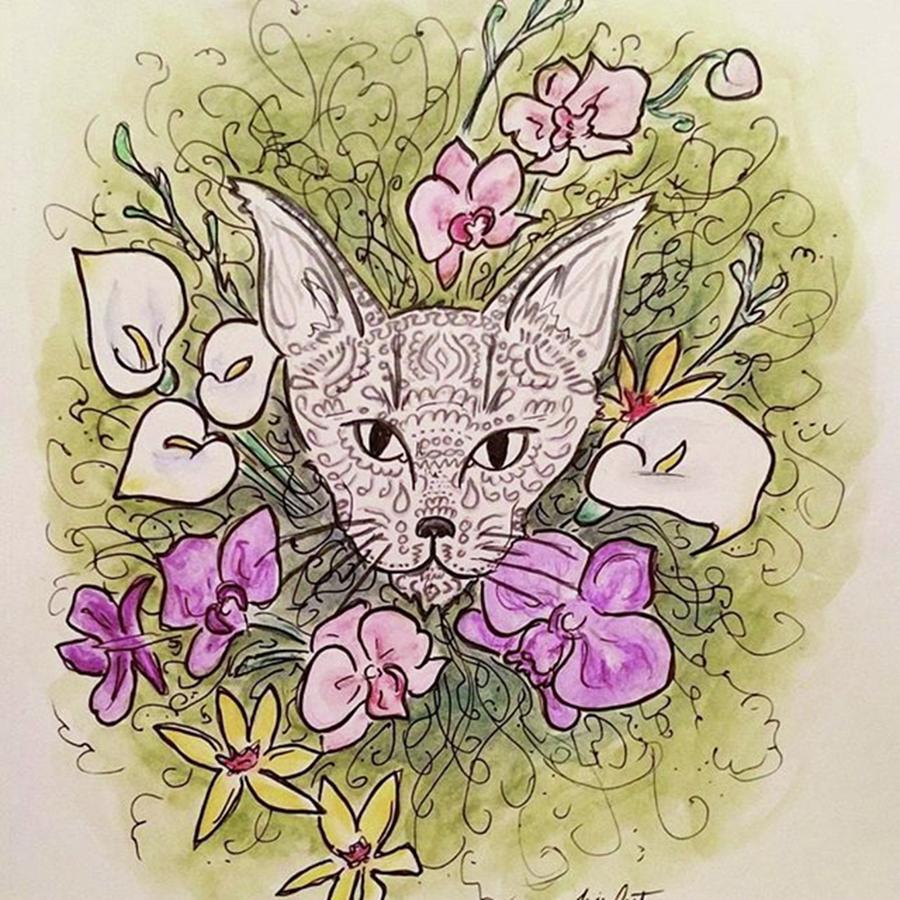 Garden Photograph - Filigree Cat And Flowers by Faithc Original Artwork