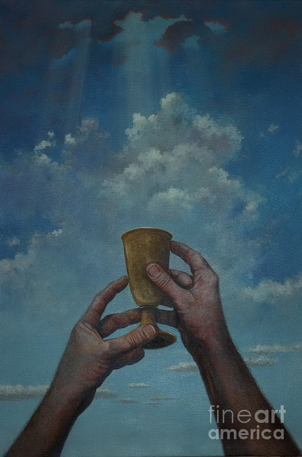 Biblical Painting - Fill My Cup Lord by Michael Nowak