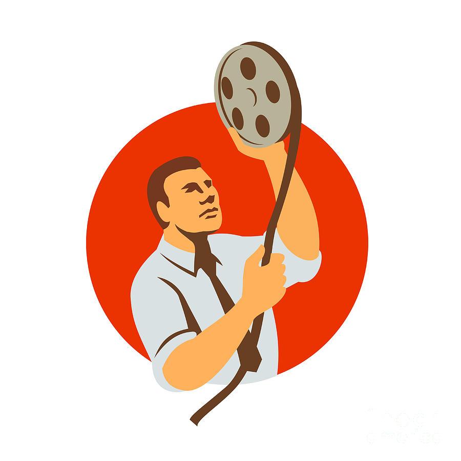 Retro Digital Art - Film Editor Looking At Reel Retro by Aloysius Patrimonio