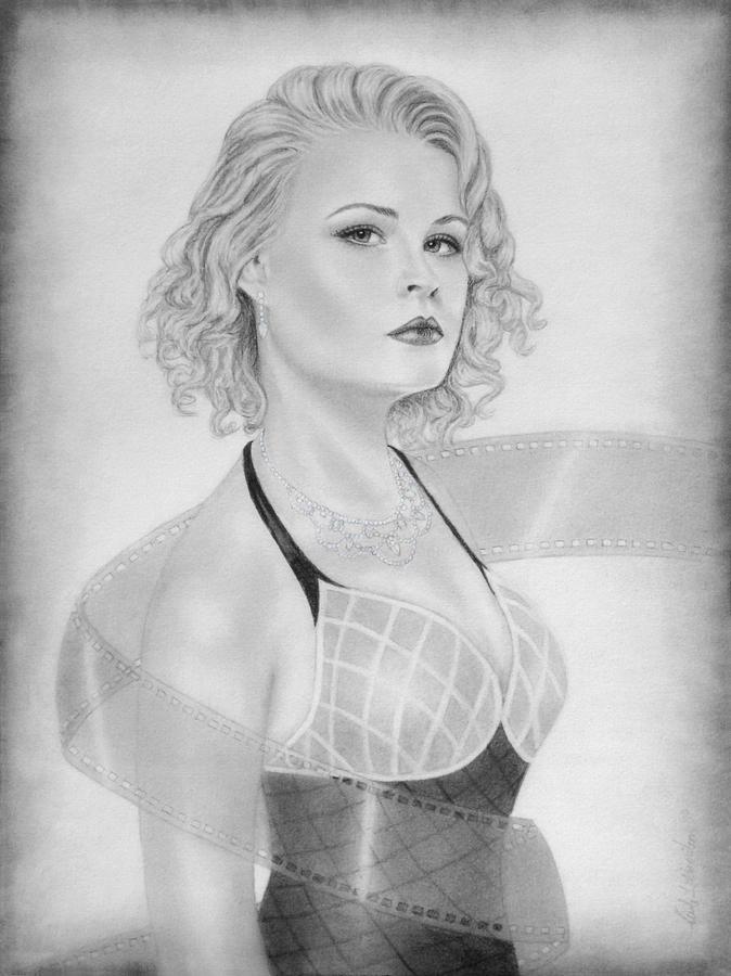 Woman Drawing - Film Star by Nicole I Hamilton