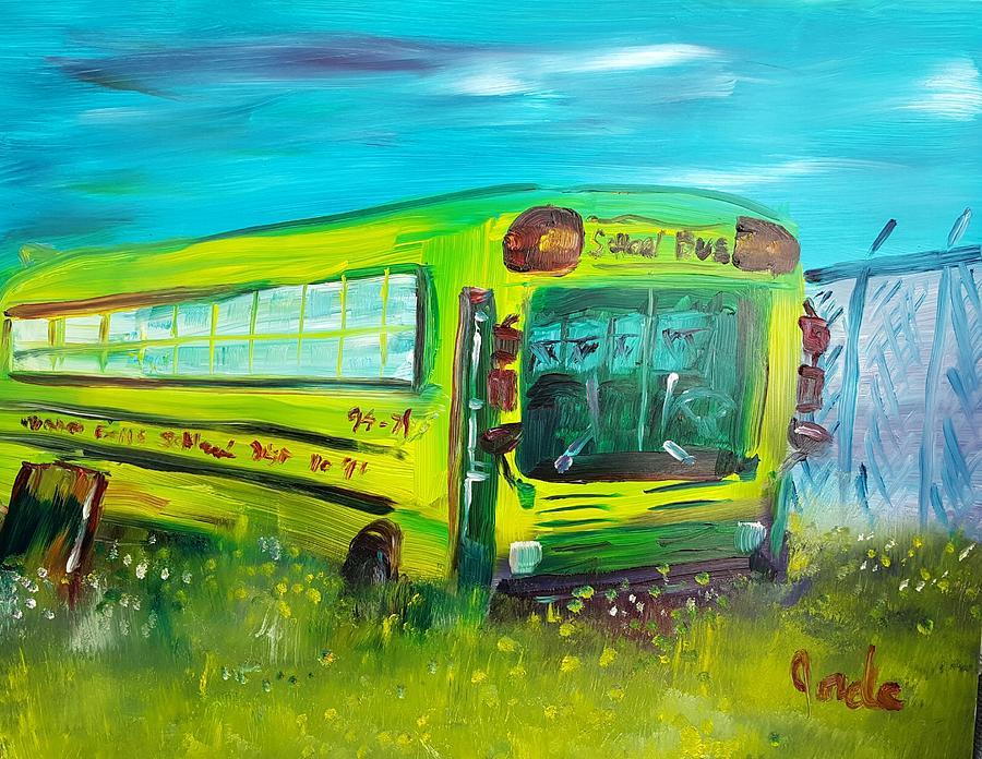 School Painting - Final Bus Stop  by Steve Jorde