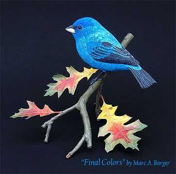 Indigo Bunting Sculpture - Final Colors by Marc  Barger
