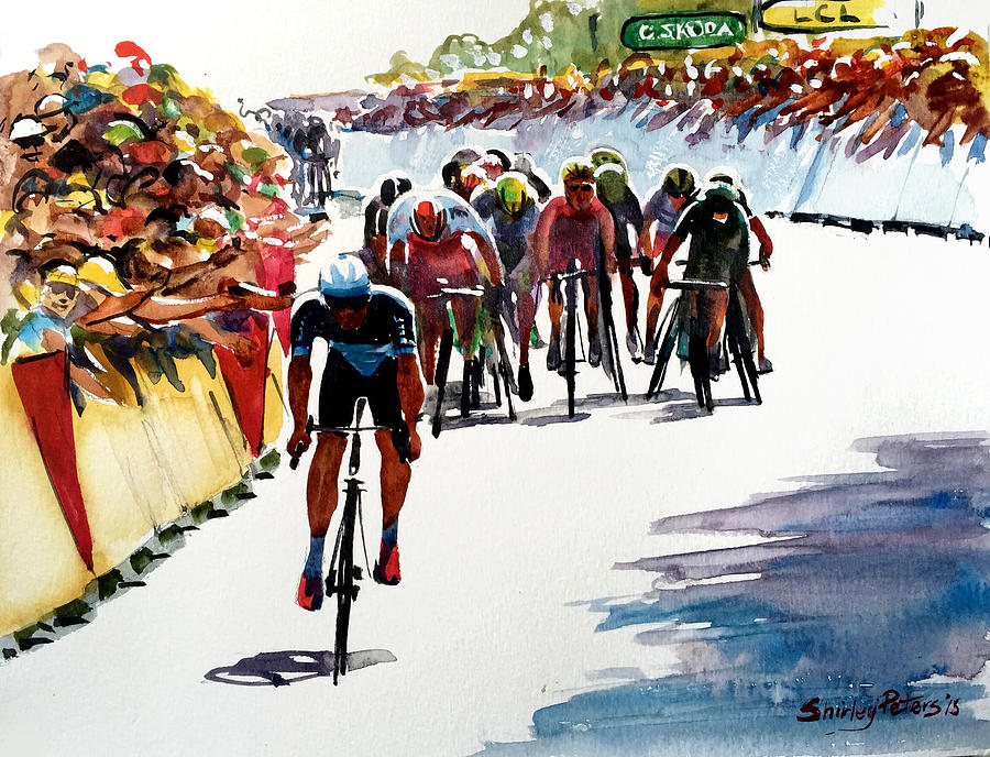 Cycling Painting - Final Dash On Stage 6 - Lge by Shirley Peters
